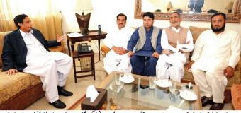 Municipal Committee Sheikhupura's newly- elected Councillor Haji Falak Sher Virk calls on Ch Parvez Elahi