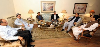 British MP Khalid Mahmud calls on Ch Shujat Hussain and Parvez Elahi