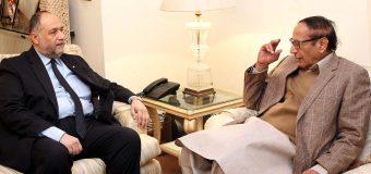 پاکستان مسلم لیگ کے صدر و سابق وزیراعظم چودھری شجاعت حسین سے مصر کے پاکستان میں سفیر شریف شاہین کی ملاقات