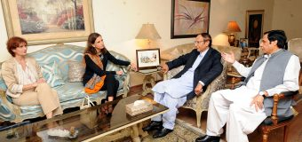 US Consul General Lahore calls on Ch Shujat Hussain and Parvez Elahi