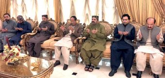 Ch Shujat Hussain, Moonis Elahi, Salik Hussain and Kamil Agha condole with brothers and son of Ali Muhammad Khan Mehr and offer fateha