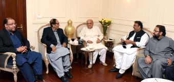Brig (R) Ejaz Shah and Fawwad Chaudhry call on Ch Shujat Hussain and inquire about his welfare