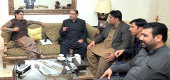 KPK Muslim League leaders headed by Nawabzada Yousaf Khan Hoti call on Ch Shafay Hussain
