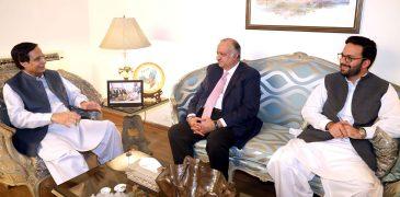 Former federal minister Raees Munir Ahmad and MPA Raees Nabeel call on Ch Parvez Elahi