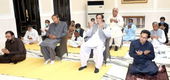 Chaudhry brothers offered Eid prayers in Gujrat observing social distancing
