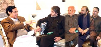 Federal Minister for Parliamentary Affairs Ali Muhammad Khan and Ejaz Chaudhry call on Speaker Ch Parvez Elahi and inquired about the well-being of Ch Shujat Hussain.