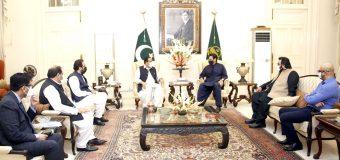 MNA Moonis Elahi along with a delegation calls on CM Punjab Sardar Usman Buzdar at CM House