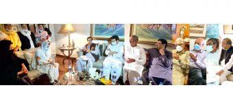 قائم مقام گورنر پنجاب چودھری پرویزالٰہی کی پرویزملک مرحوم کی رہائش گاہ آمد، شائستہ پرویزملک اور ان کے صاحبزادوں سے اظہار تعزیت
